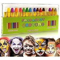 Jintes Kit de Crayones Color de la cara para Niños Pintura corporal y aceite Clown Fans Devil Ghost Party Cuerpo