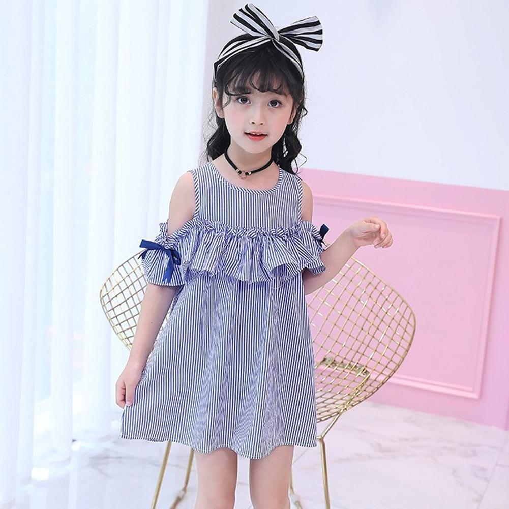 144c25602f98 Domybest Summer Dress Girls Sleeveless Stripe Ruffle Side Princess Casual  Party Dresses Headband Sets 1-6 T  Amazon.co.uk  Clothing