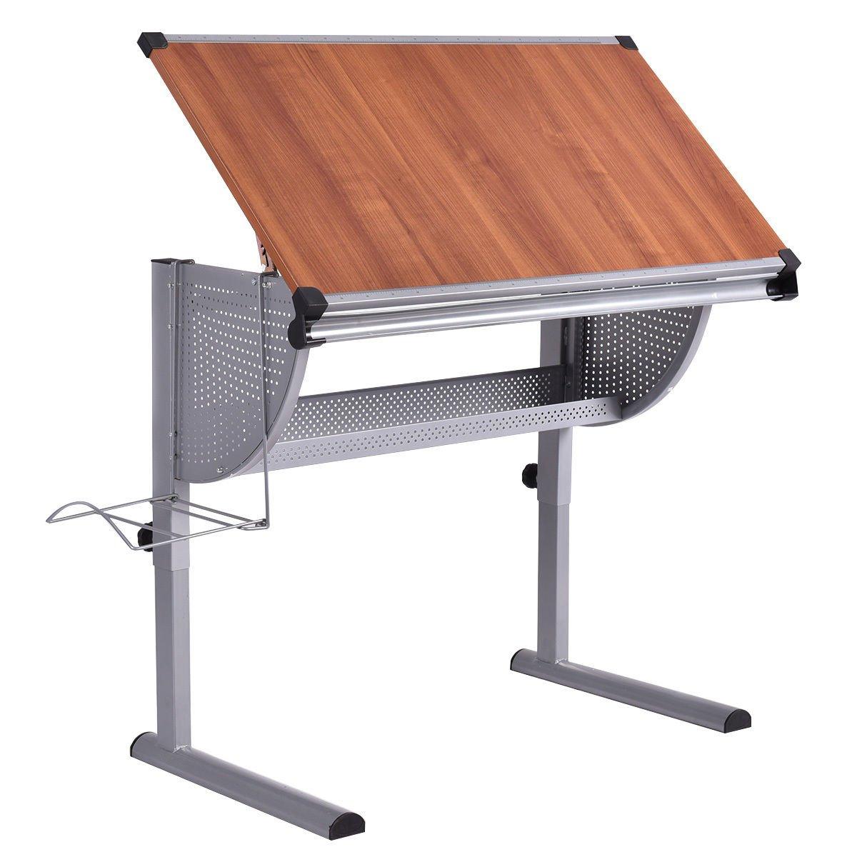 Tangkula Drafting Table Drawing Desk Adjustable Art & Craft Hobby Studio Architect Work (Yellow)