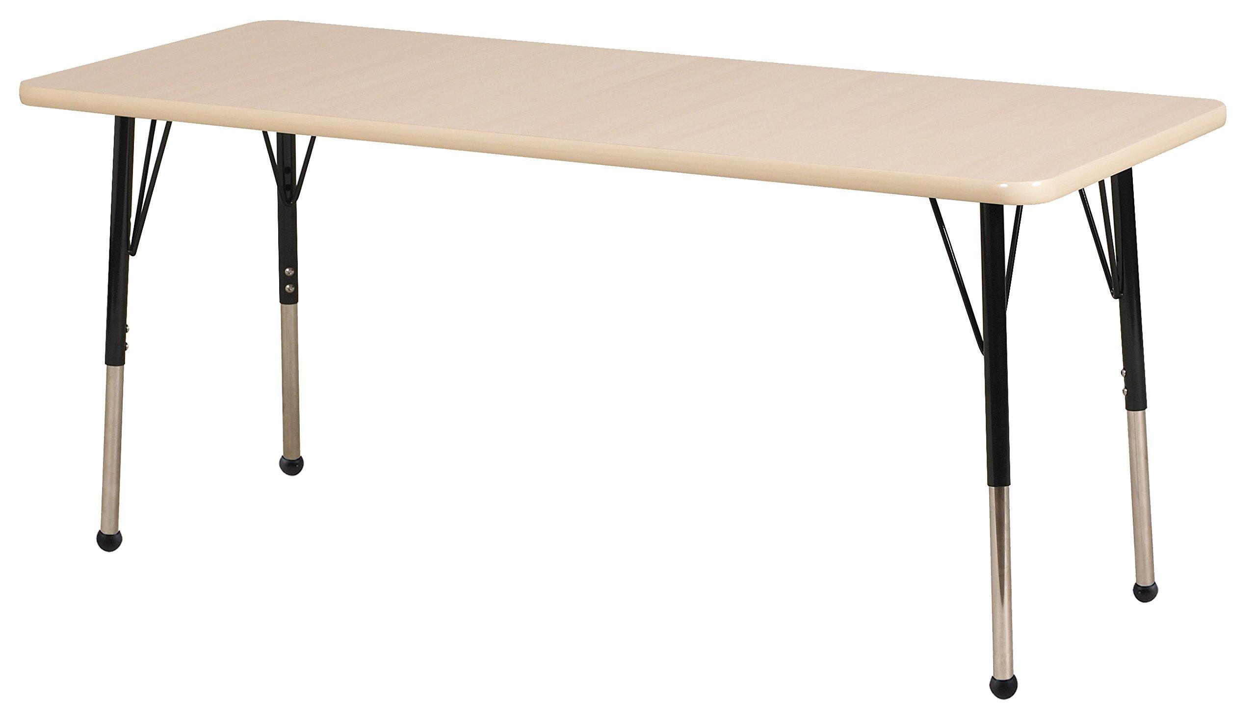 ECR4Kids T-Mold 24'' x 60'' Rectangular Activity School Table, Standard Legs w/ Ball Glides, Adjustable Height 19-30 inch (Maple/Black)