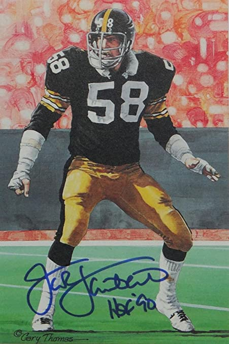 bc3a265a149 Jack Lambert Autographed Steelers Goal Line Art Card W HOF- JSA W ...