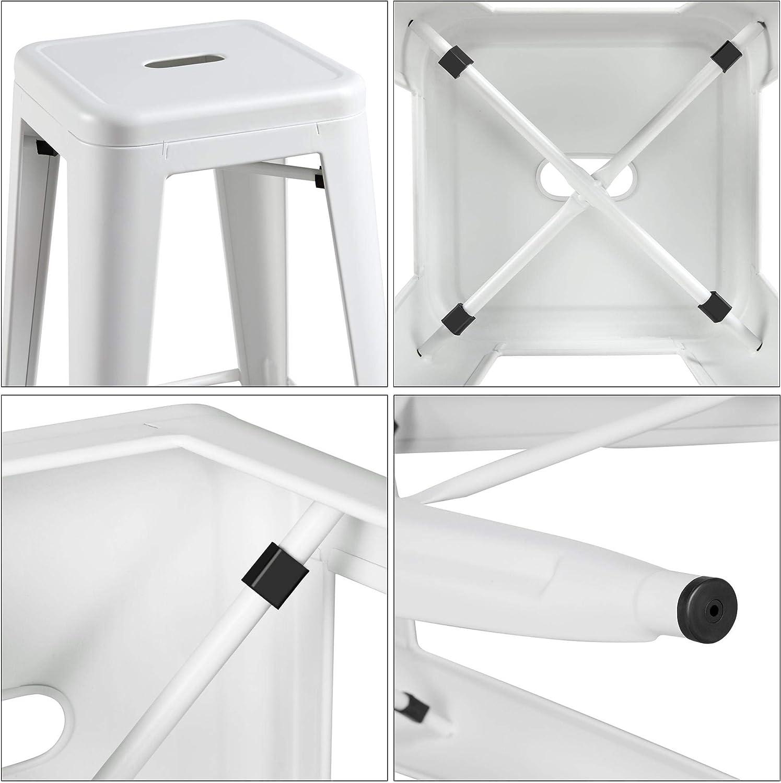 Yaheetech 4er Set Barhocker Metall Bistrohocker Stapelbar Barstuhl Gestell aus stabilem Stahl Designer Hocker Tresenhocker bis 150 Kg
