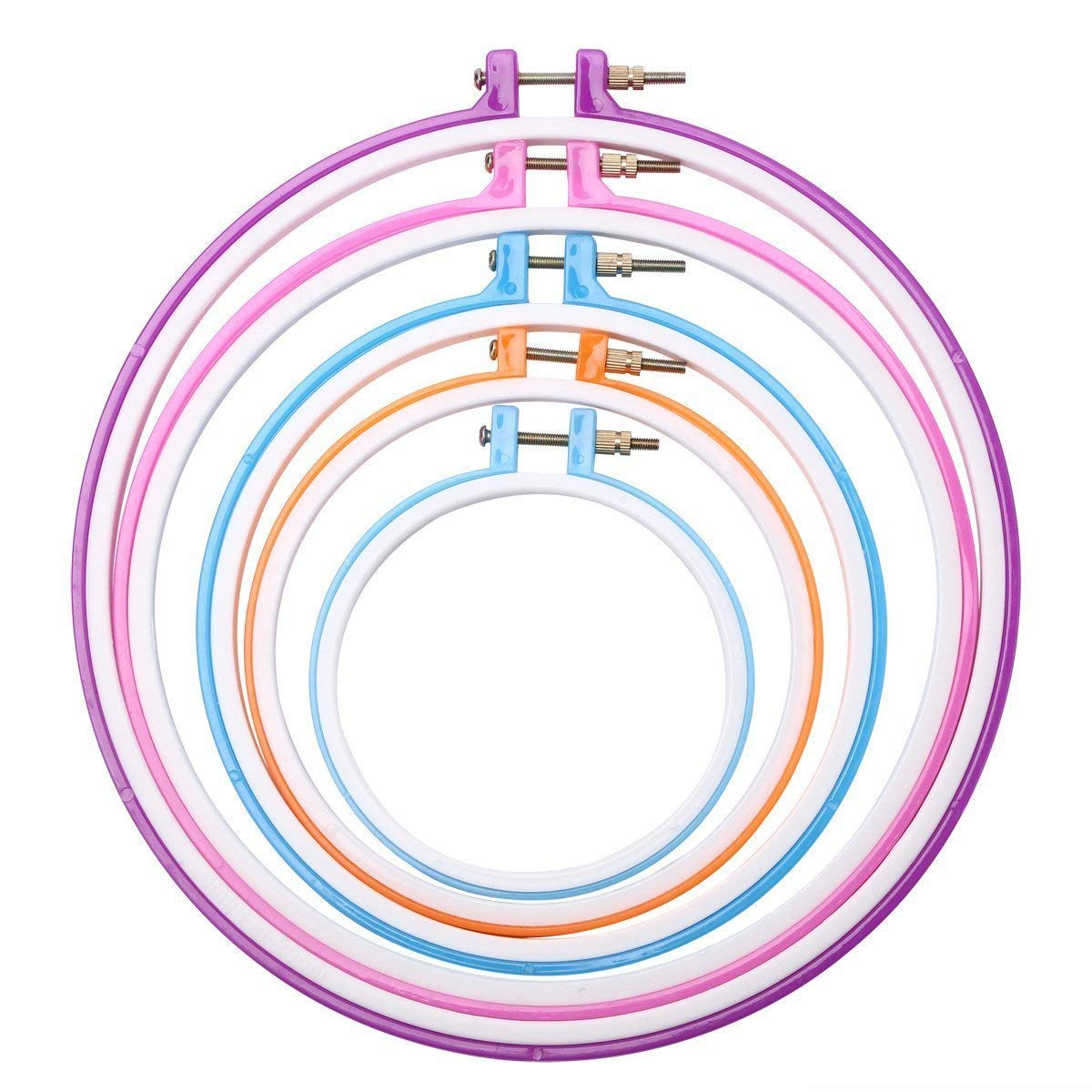 Happy Shop 5 Pieces Embroidery Hoops Plastic Cross Stitch Hoop Round Embroidery Circle 5 inch to 11 inch