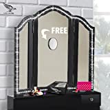 Vanity Lights - With FREE 10X MAGNIFYING MIRROR - Hollywood Style Make Up LED Light Strip Set - Dimmable Bedroom, Bathroom or Vanity Makeup Table Set - White Makeup Vanity Mirror Lights