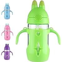 ORIGIN Best Kids BPA-Free Glass Water Bottle for Boys, Girls, and Toddler | Leak-Proof Flip Cap Lid | Protective Plastic…