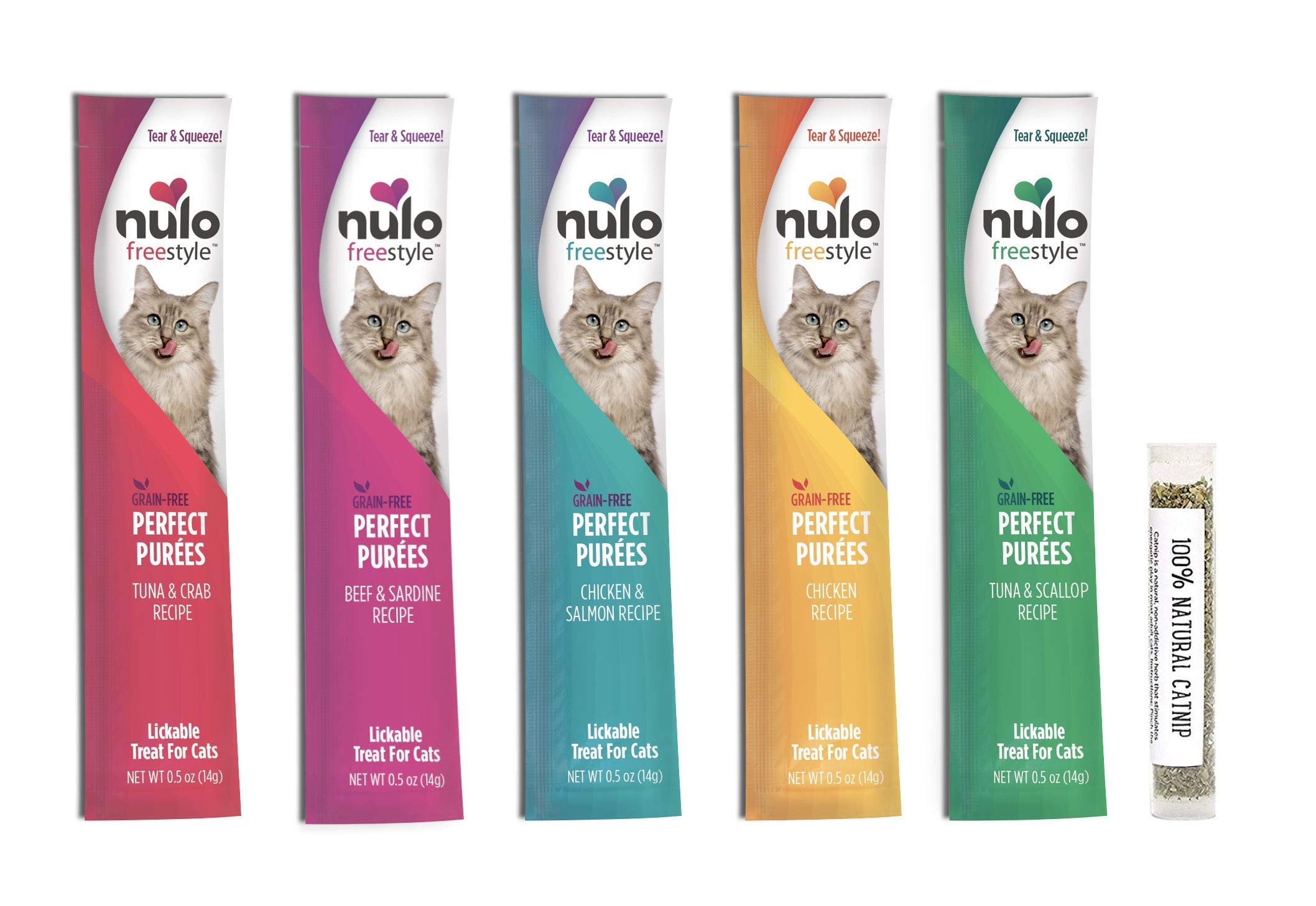 Nulo Freestyle Purfect Purees Grain Free Wet Cat Treat/Food Pouch Variety Pack, 5 Flavors, 0.5 Ounces (15 Total Pouches) and 1 Tube of Amazing Cat Catnip by Nulo
