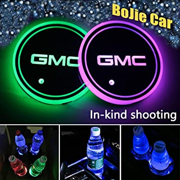 LED Car Logo Cup Holder Pad Bottle Drinks Coaster Waterproof 7 Colors Changing USB Charging Luminescent Mat Decoration Light Interior Atmosphere Lamp 2PCS fit G-M-C