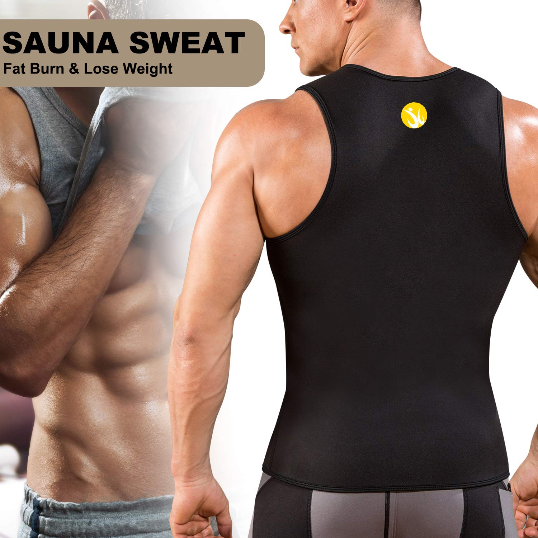Junlan Men Weight Loss Shirts Waist Trainer Shaper Slim Tank Top Workout Exercise Vest