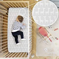 Rabitat Organic Cotton Fitted Cradle Sheet/Bedsheet for Cribs/Cots (Giraffe, White)