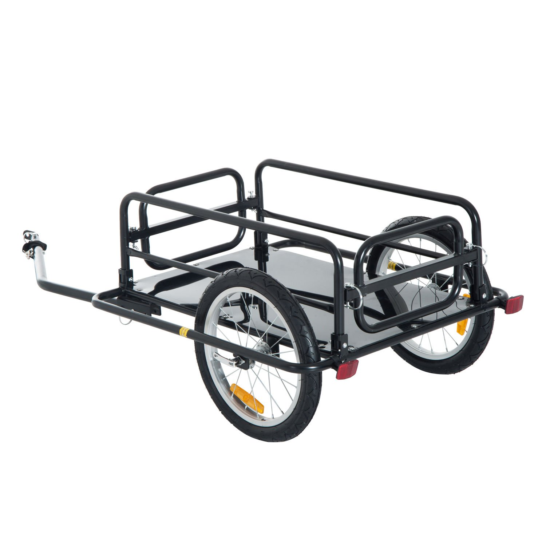 Aosom Wanderer Folding Bicycle Bike Cargo Storage Cart and Luggage Trailer with Hitch - Black by Aosom