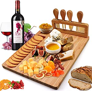 Bamboo Cheese Board Meat Charcuterie Platter Serving Tray W/ 4 Tableware Stainless Steel Knife, Home Kitchen Food Server Plate Cutter Cutlery Tool, Entertain Family Friend Guest as a Gift (14''x11'')