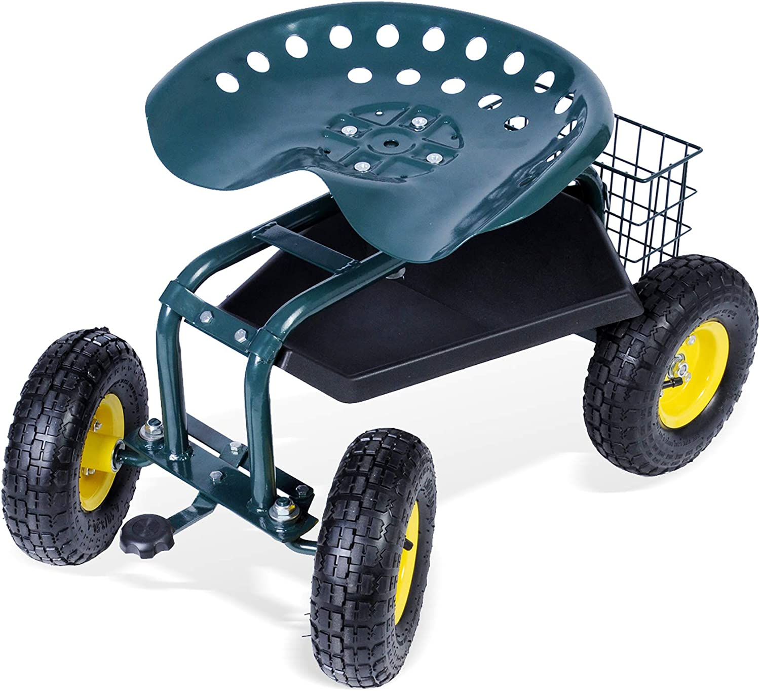 CARSTY Garden Cart with Seat and Wheels and Storage - Heavy Duty Rolling Steerable Scooter Work Seat Utility Tool Cart - Weight Capacity 330lbs