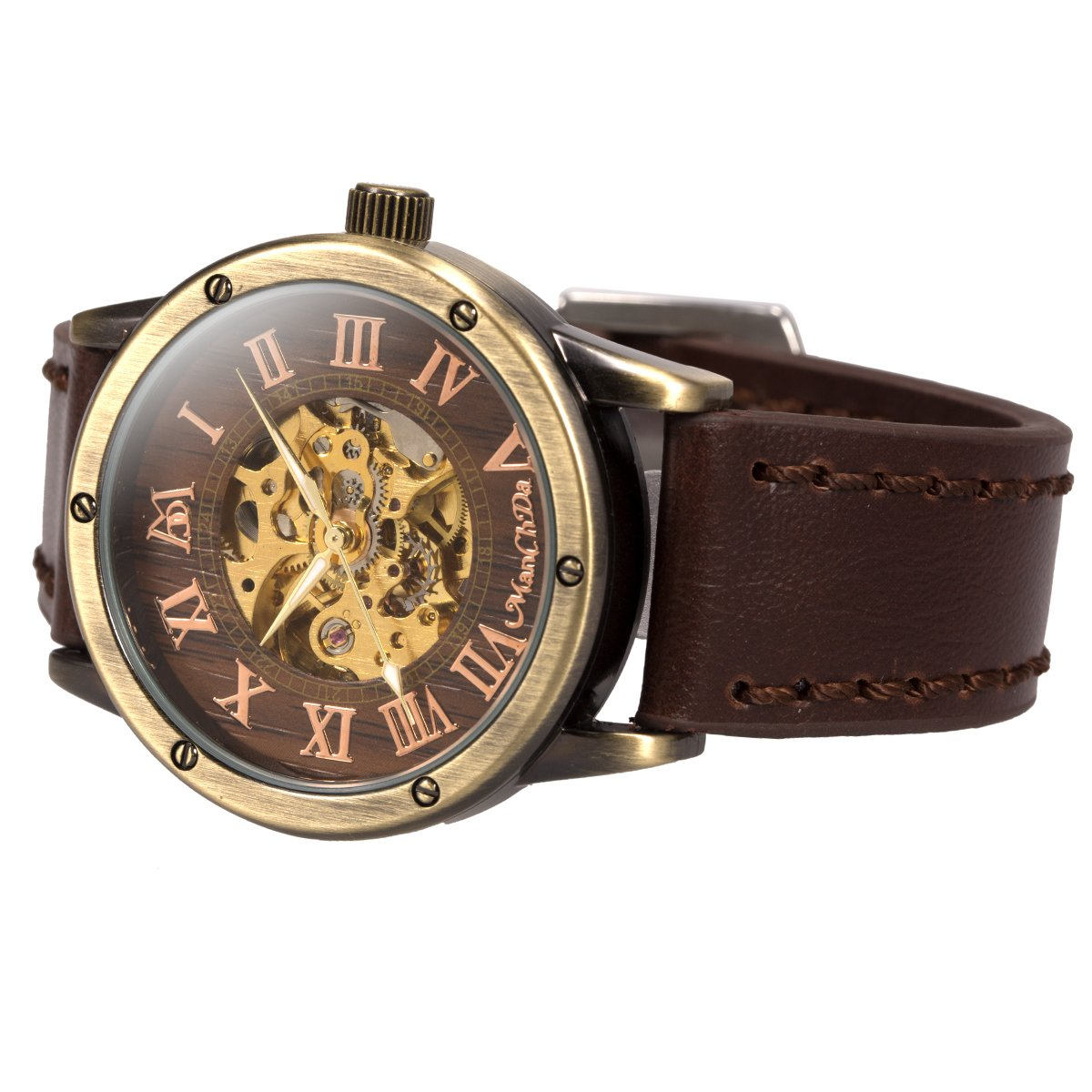 ManChDa Mens Wrist Watch Fashion Leather Band Special Burlywood dial  Automatic Mechanical Wrist Watch for Men + Gift Box » Steampunk Web