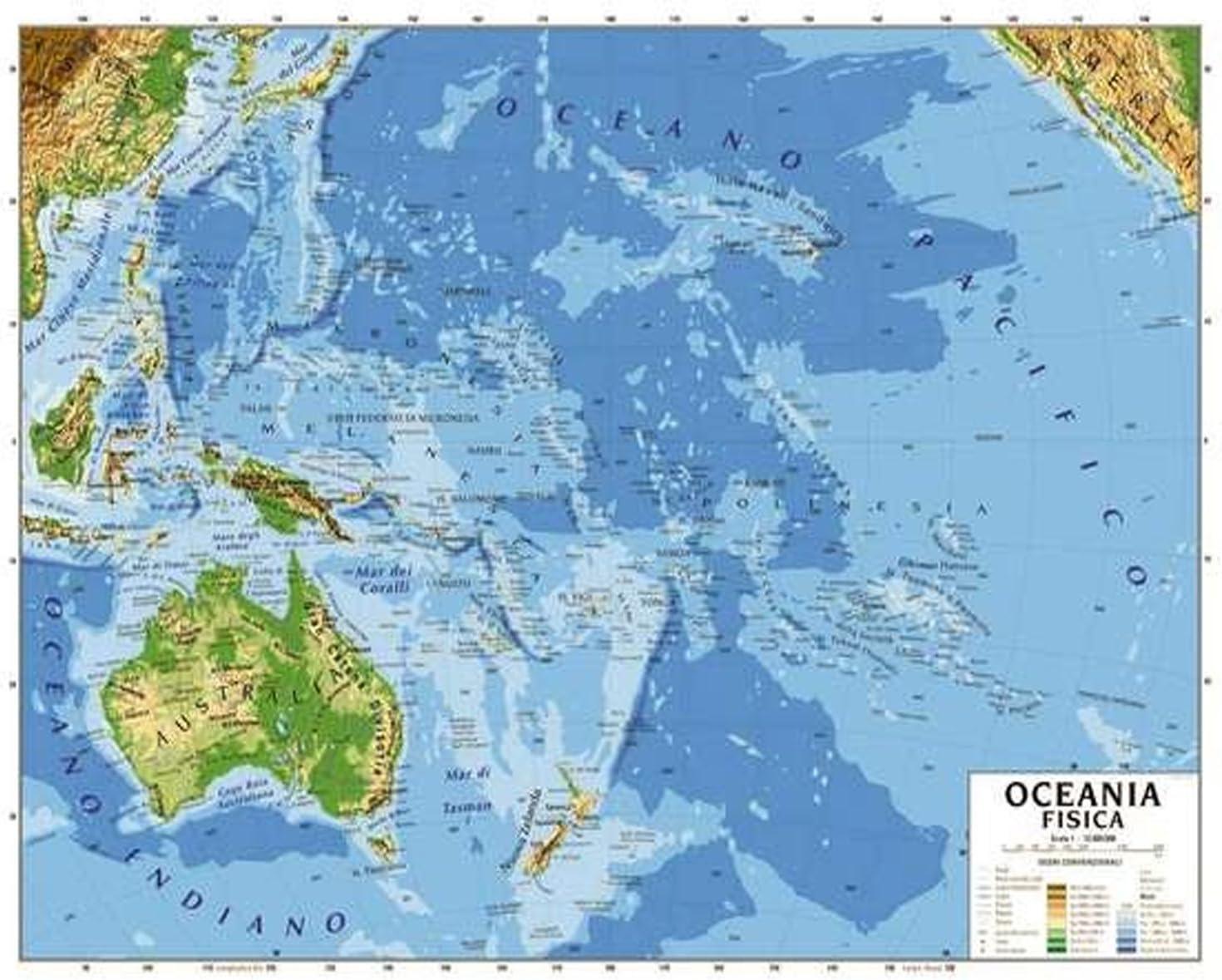 Australia Cartina Geografica.Cartina Carta Geogrifica Oceania Australia Bifacciale Fisica Politica 100x140cm Plastificata Amazon It Cancelleria E Prodotti Per Ufficio