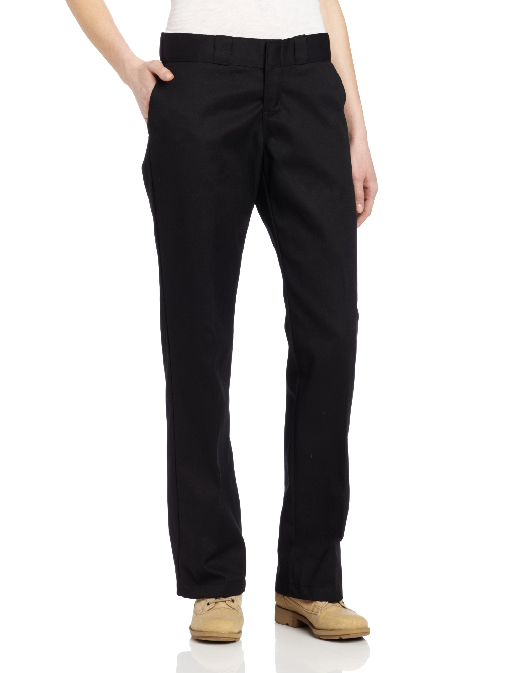 Dickies Women's Original Work Pant with Wrinkle And Stain Resistance,Black,8 Petite