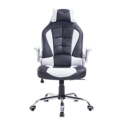 HOMCOM High Back Racing Style Ergonomic Gaming Chair With Armrest, Lumbar  And Head Support