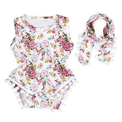 2638ca31a92 Image Unavailable. Image not available for. Color  Floral Romper Baby Girls  Sleeveless Tassel Bodysuit ...