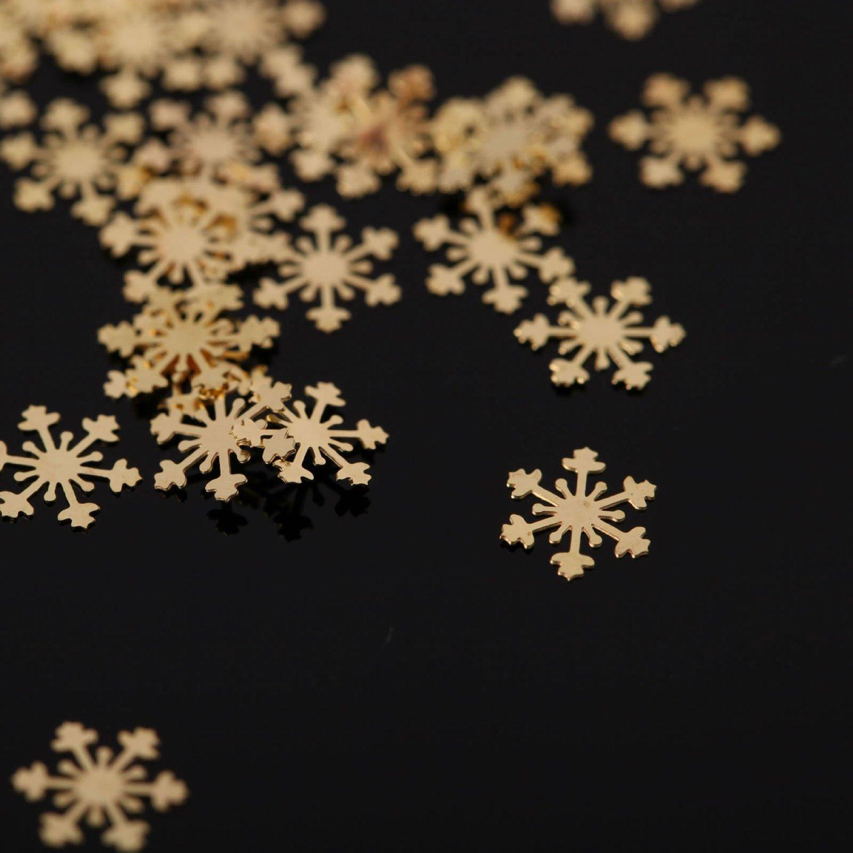 So Beauty 100pcs Snow Shape Golden Metal-Slice Nail Art Decoration Nail Designs Sticker Decals Five Season