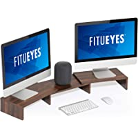 FITUEYES Dual Monitor Stand Riser 3 Shelf Desktop Organizer, Length and Angle Adjustable, Walnut Brown DT108002WB