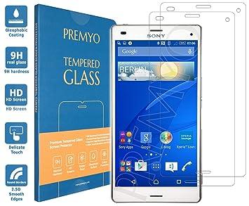 Premyo 2 Stück Panzerglas Schutzglas Displayschutzfolie Folie Kompatibel Für Sony Xperia Z3 Compact Blasenfrei Hd Klar Gegen Kratzer Fingerabdrücke