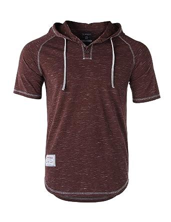 a5d24e59675e ZIMEGO Men s Contrast Short Sleeve Round Bottom Raglan Hoodie Henley T- Shirts at Amazon Men s Clothing store