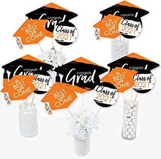 product image for Big Dot of Happiness Orange Grad - Best is Yet to Come - 2021 Orange Graduation Party Centerpiece Sticks - Table Toppers - Set of 15