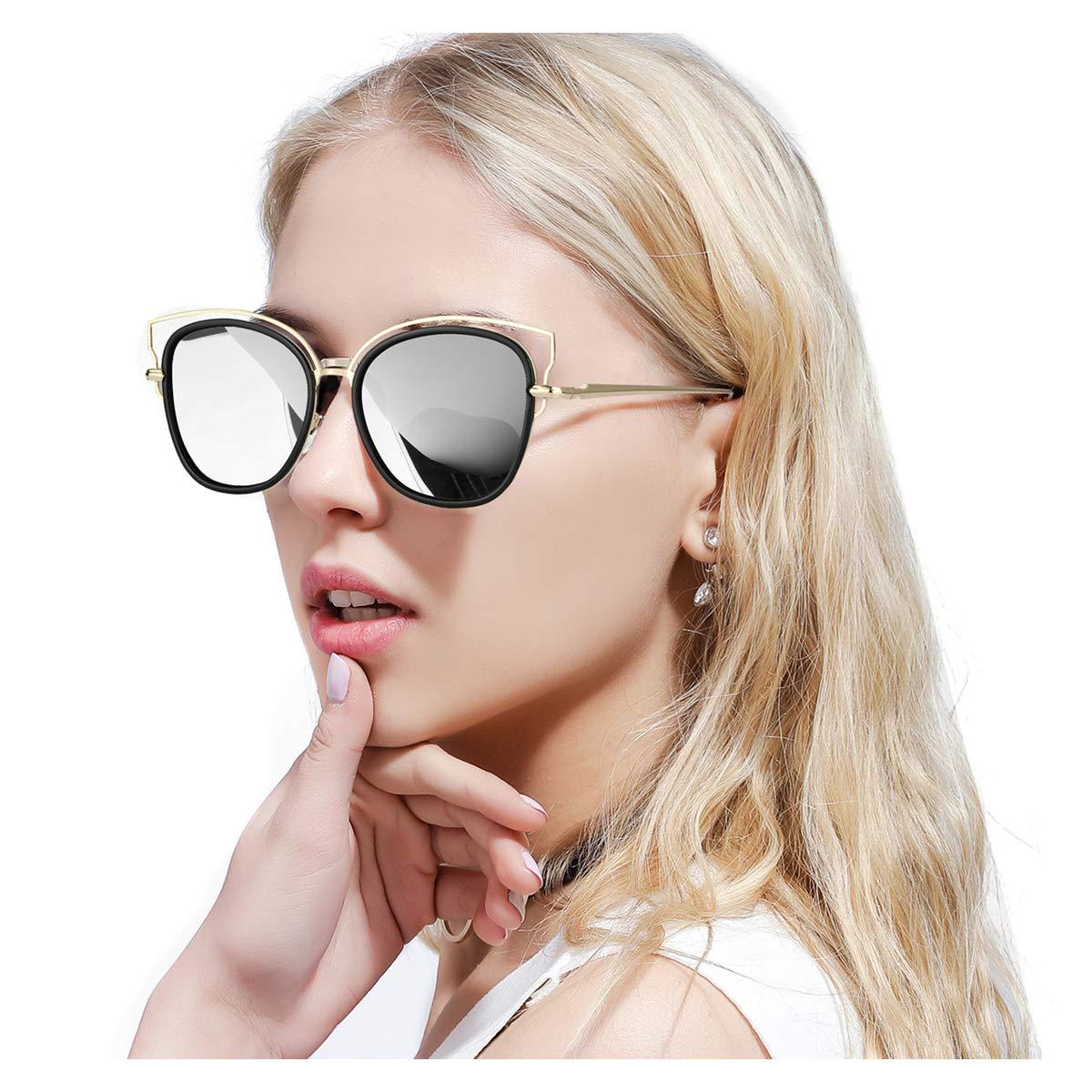 Black Silver FIMILU Oversized Cateye Mirrored Sunglasses for Women,HD Polarized Lenses & UV400 Predection Stylish Eyewear