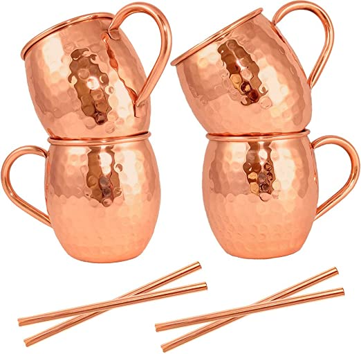 Unlined Copper Cups For Icy Cold Cocktails Makes A Perfect Gift Recipes Included COPPure Moscow Mule Copper Mugs Set of 2 Pure 100/% Solid Hammered