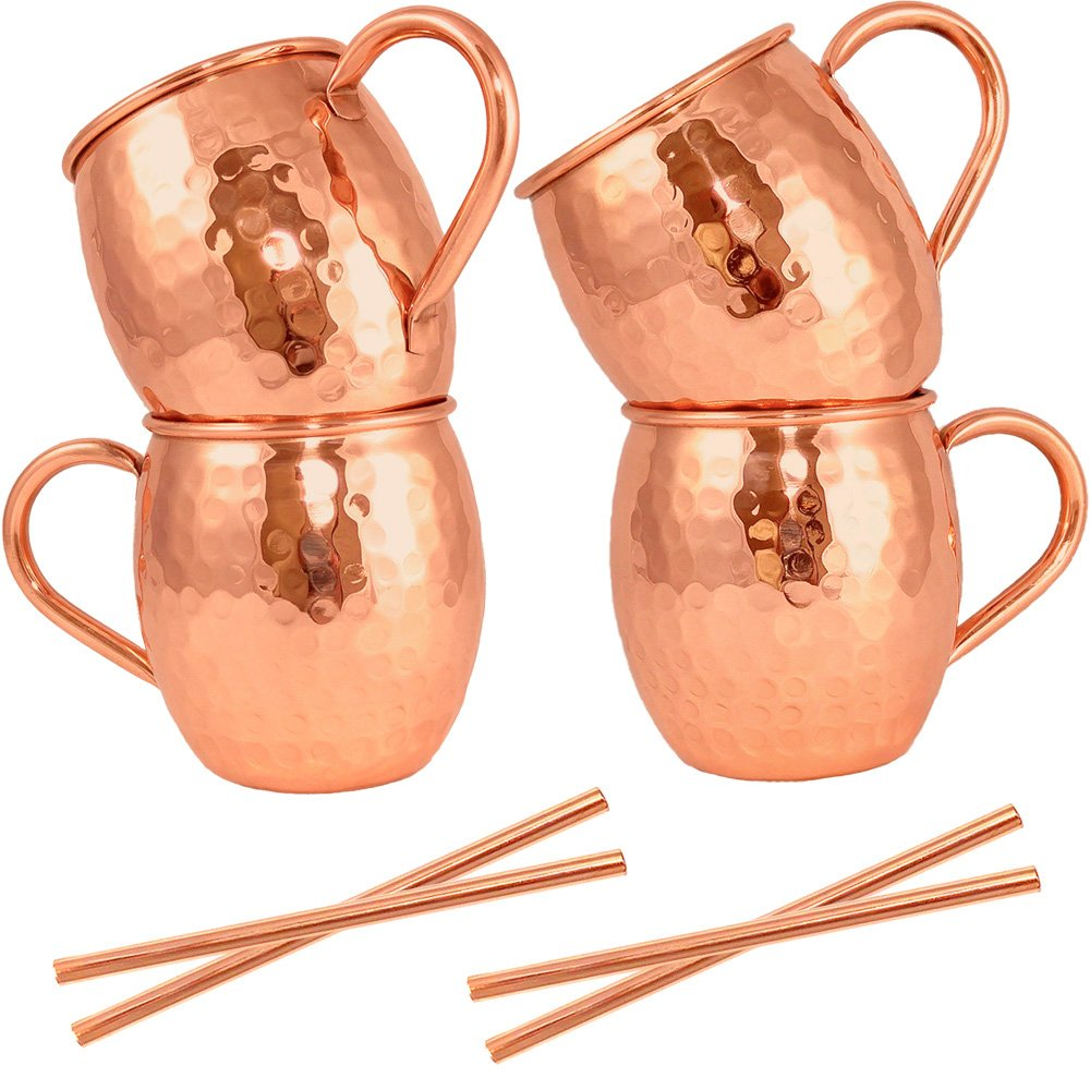 Moscow Mule Mugs Set of 4 + Copper Straws by Artisan's Anvil - Four Solid 16 oz Copper Mugs Gift Set - 100% Pure Hammered Copper Barrel Mugs - Handmade Unlined Copper Cups