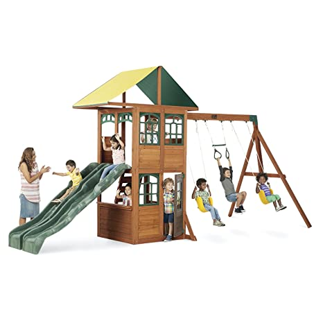 Amazon Com Treasure Cove Wooden Swing Set By Kidkraft Toys Games