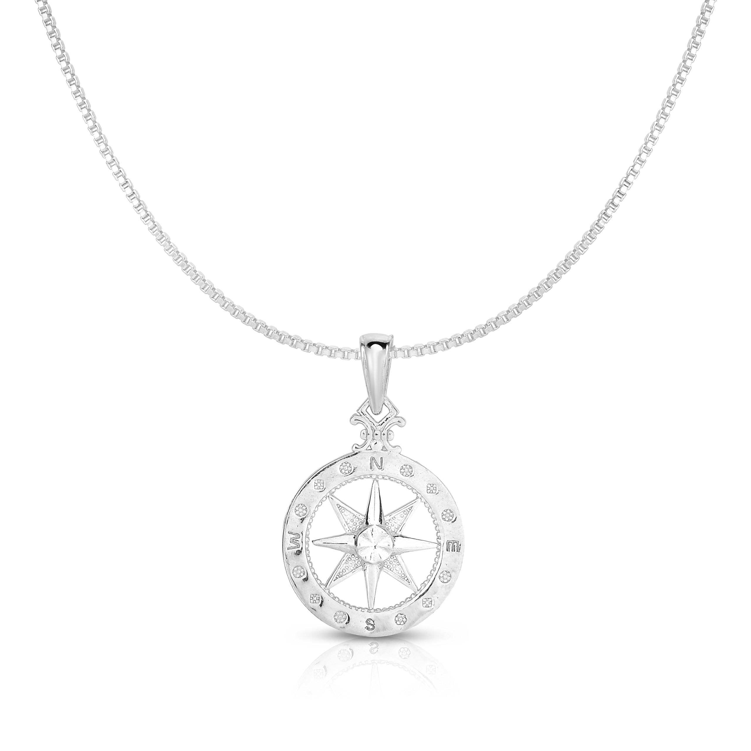 Unique Royal Jewelry 925 Solid Sterling Silver Small Compass Rose Pendant and Necklace. (18'' Inches)