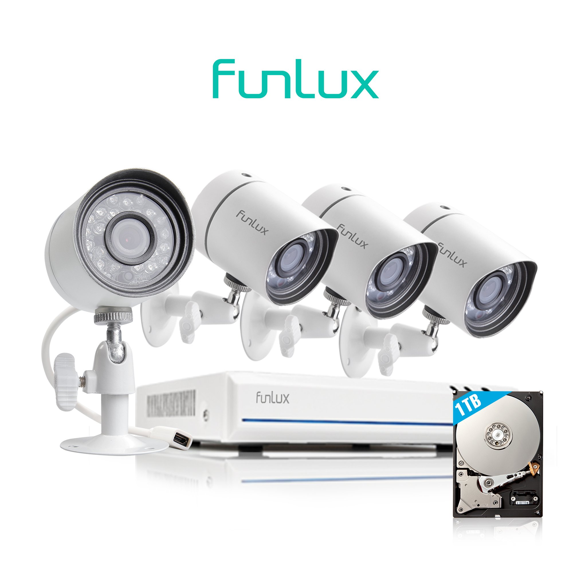 Funlux 4 Channel 1080p HDMI NVR Simplified PoE 4 720p HD Outdoor Indoor Security Camera System 1TB Hard Drive