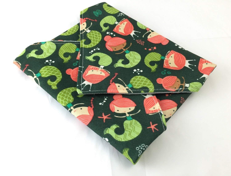 Under the Sea Mermaids in Dark Teal Reusable Sandwich Wrap Bag Mat