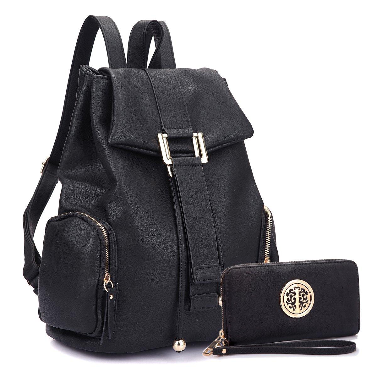 MMK collection Women Fashion Drawsrting Backpack with wallet (2443)~Designer Purse for Women ~Multi Pocket Backpack~ Beautiful Designer Handbag Set (11-2443-BK)