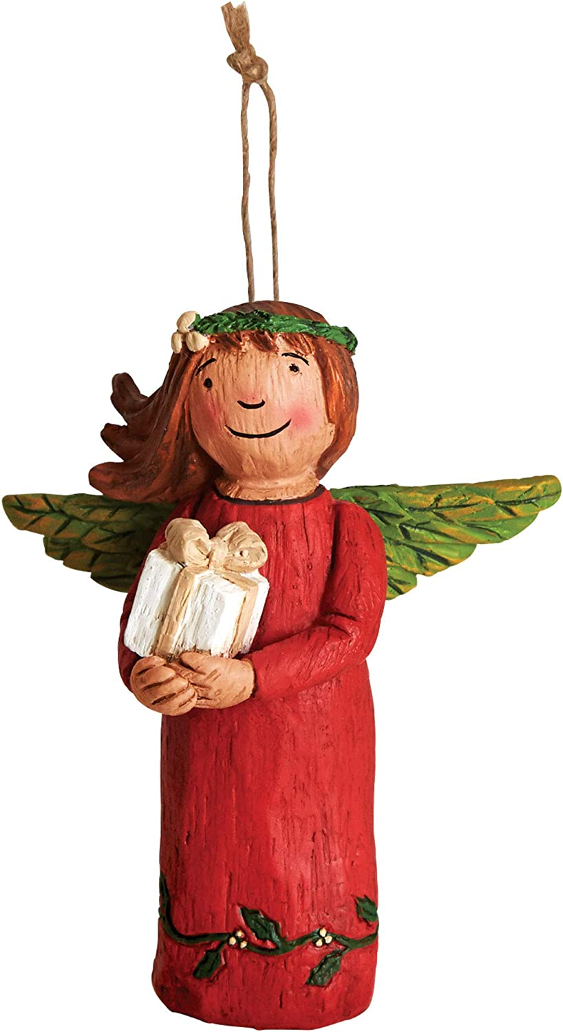 Studio M Wings of Whimsy Life's Gifts Hand-Painted Inspirational Angel Ornament, Decorative Home Décor Sculpture, Beautiful Wood-Carved Look, 3.25 x 4.5 Inches