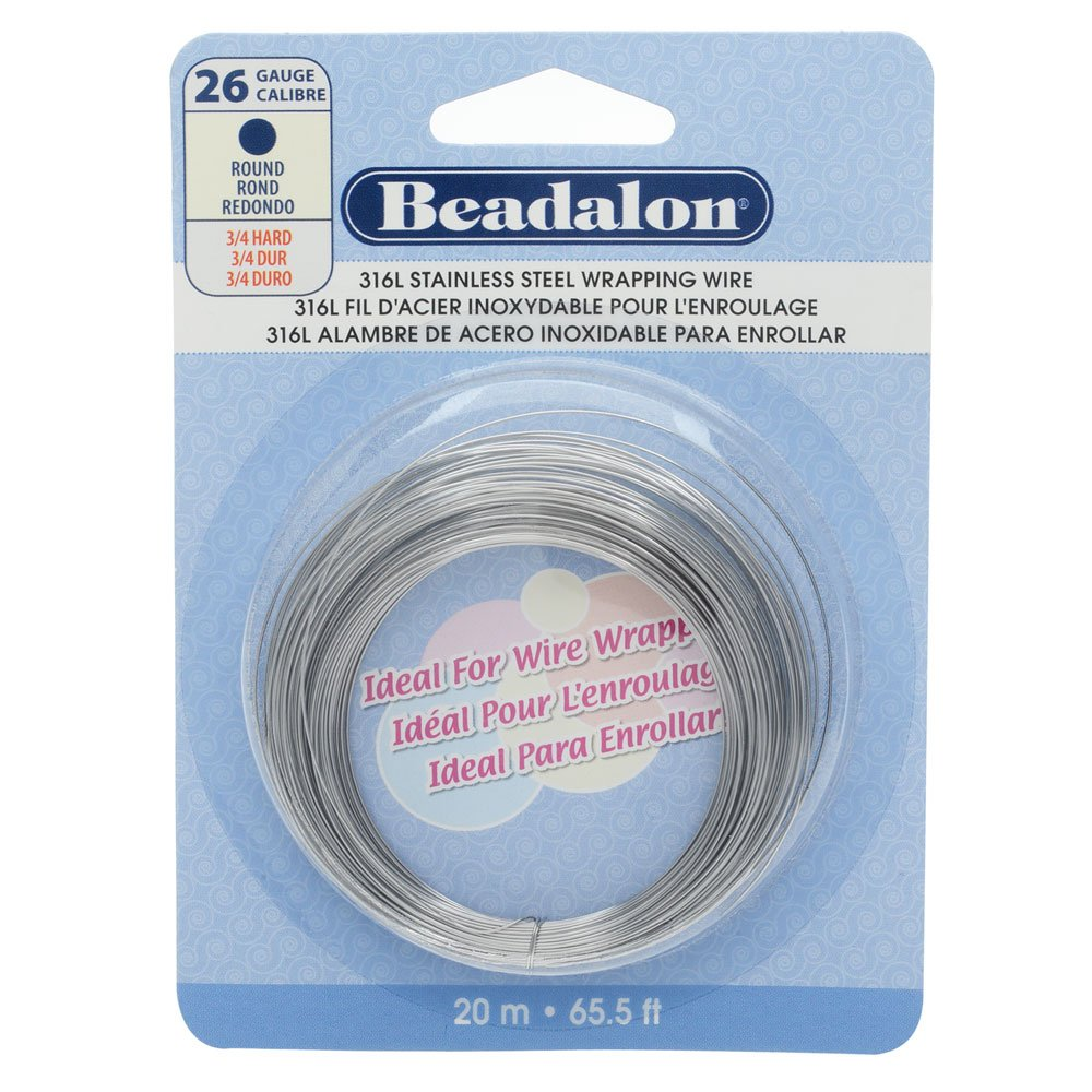 Beadalon 316L Stainless Steel 20 m 26 Gauge Round Wire: Amazon.co.uk ...