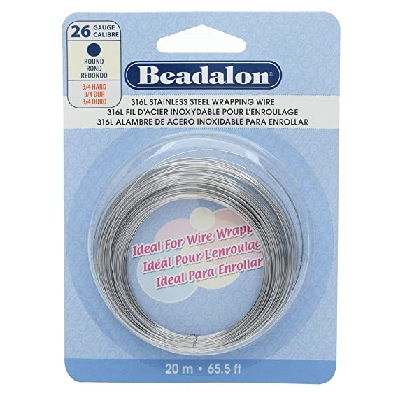 Amazon.com: Beadalon Round Wire 316L Stainless Steel 26 Gauge, 20-Meter