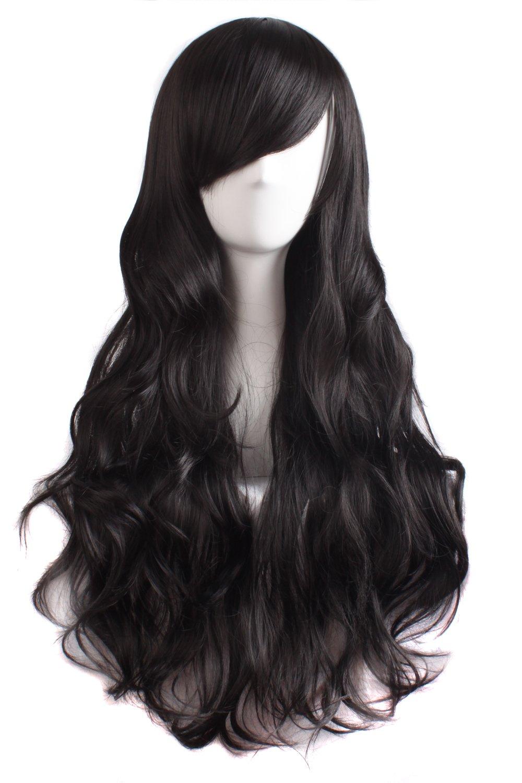 MapofBeauty Charming Women's Long Curly Full Hair Wig (Black)