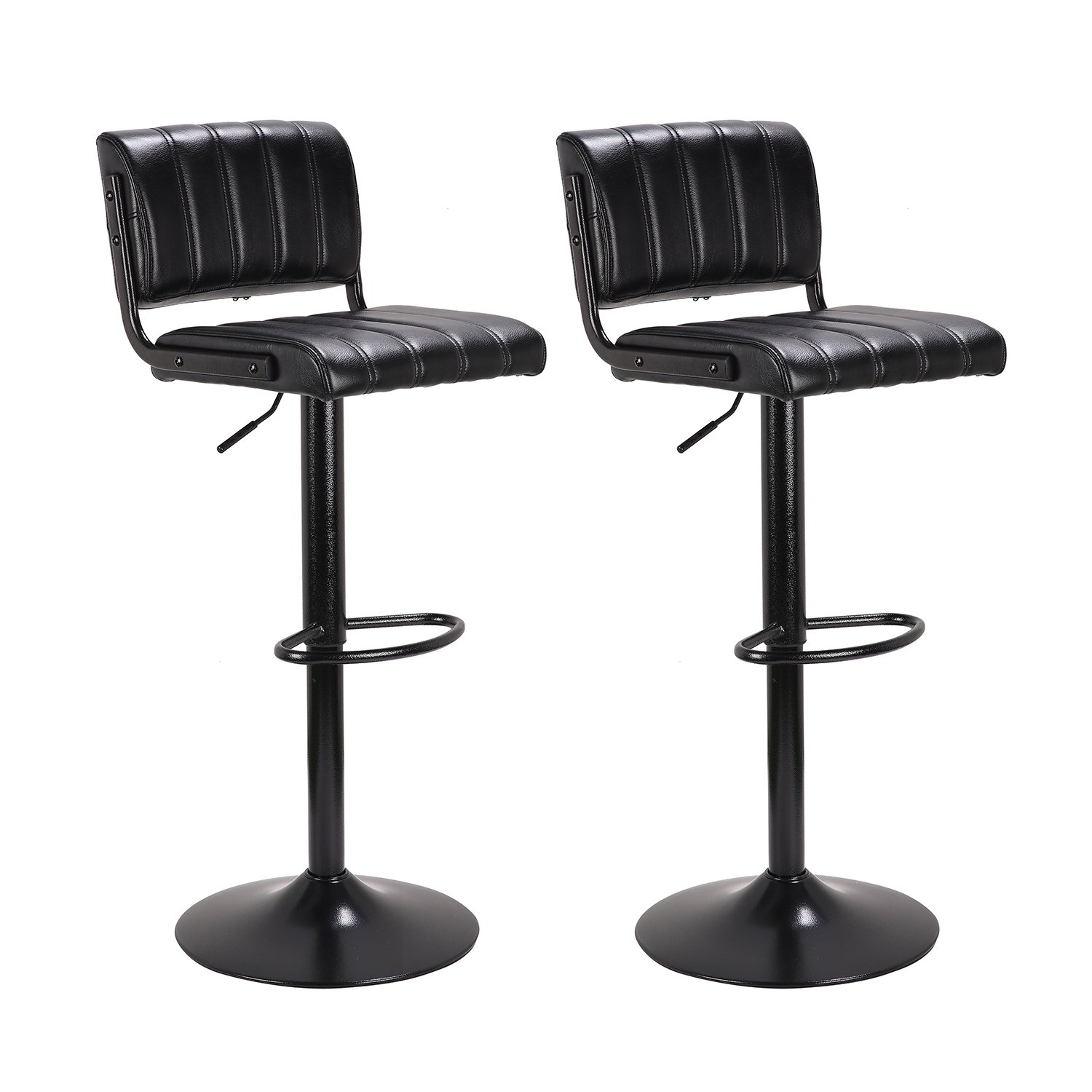 "LCH 24"" - 33"" PU Leather Adjustable Bar Stools, Stylish Counter Height Swivel Bar Stool Chairs with Backrest, Set of 2, Black"