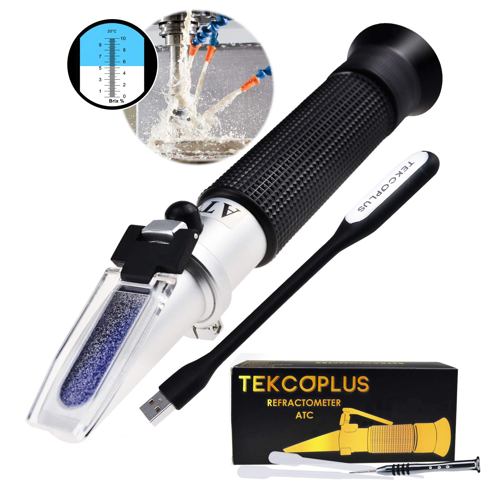 Brix Refractometer Range 0-10% Brix Testing Synthetic Machining Coolants, Maple sap, Cutting Liquid, CNC, for Maple Syrup Makers, Low-Concentrated Sugar Solutions, Tea, ATC +LED Light & pipettes by TekcoPlus
