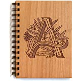 Floral Monogram Laser Cut Wood Journal - Multiple Letters Available (Notebook / Birthday Gift / Gratitude Journal / Handmade)