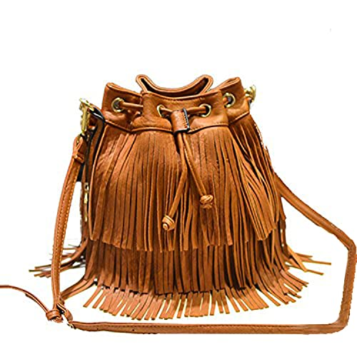 DI GRAZIA Women s Fringe Tassel Bucket Sling Handbag (Brown)  Amazon.in   Shoes   Handbags 7e13ba737e8da