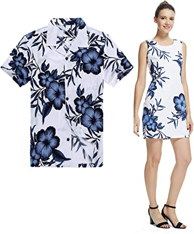 Pareja Matching Hawaiian Luau Outfit Aloha Camisa y Vestido ...