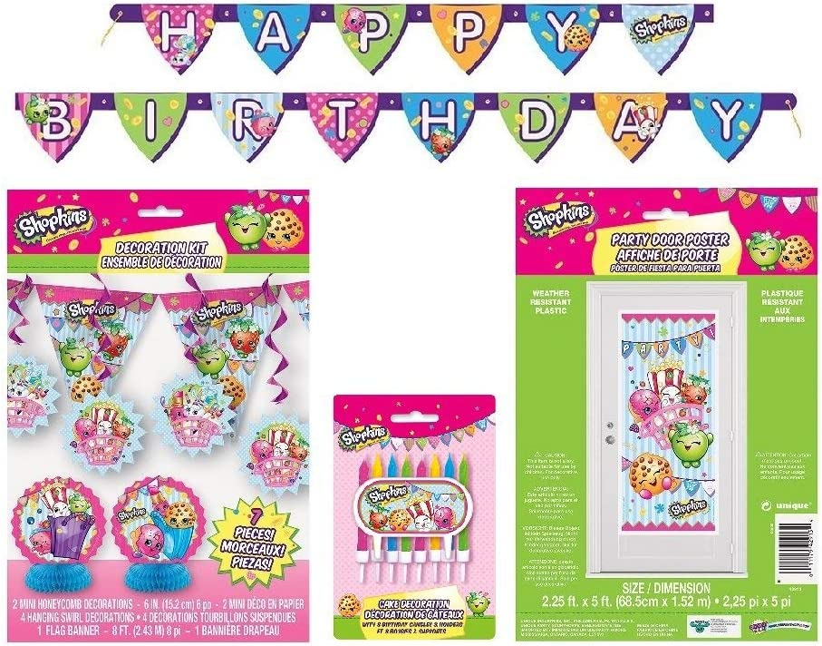 Shopkins 6Ft Happy Birthday Jointed Banner Paper Goods Birthday Supplies party
