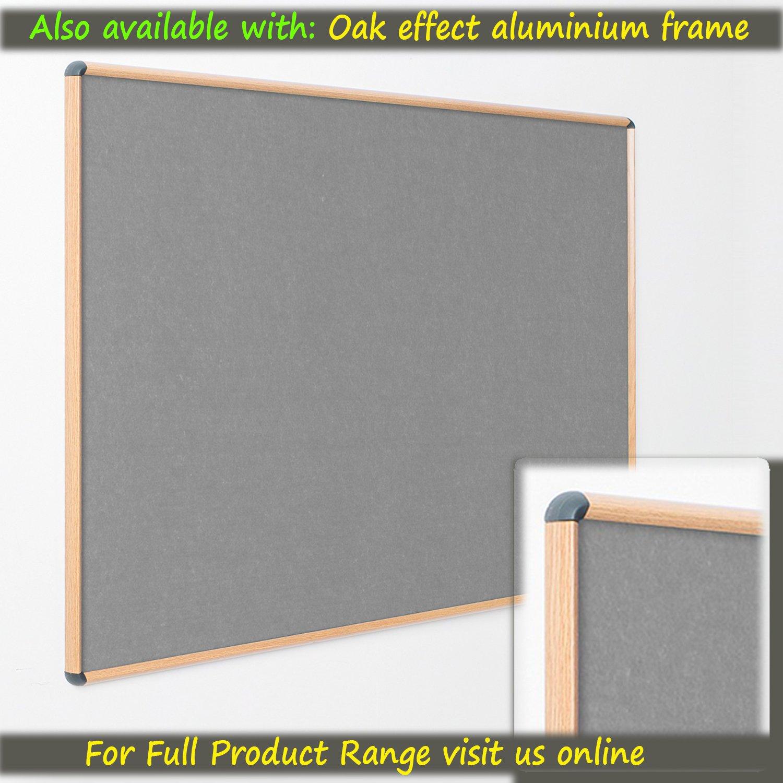 Premium Noticeboard Grey 120 x 90cm with Fixings Aluminium Frame