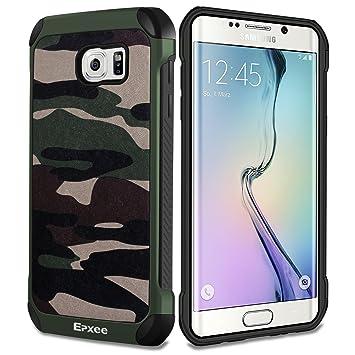 Epxee Funda para Samsung Galaxy S6 Edge, Silicona Shock-Absorción Case Carcasa para Samsung Galaxy S6 Edge (Camuflado-001)