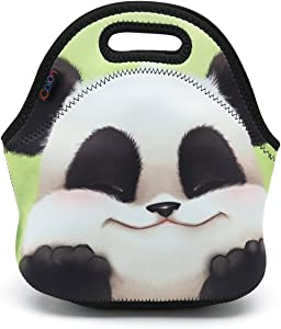 ICOLOR Cute Panda Boys Girls Insulated Neoprene Lunch Bag Tote Handbag Lunchbox Food Container Gourmet Tote Cooler Warm Pouch for School Work Office