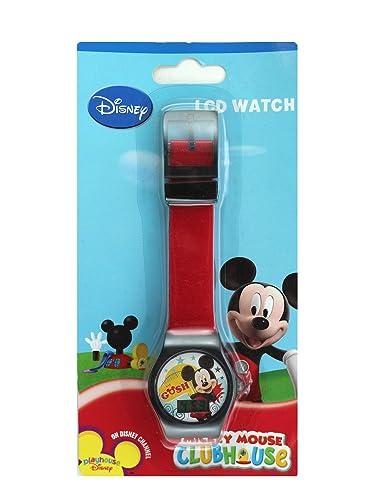 Reloj digital para niños, diseño de Mickey Mouse con banda de gelatina roja y borde negro: Amazon.es: Relojes