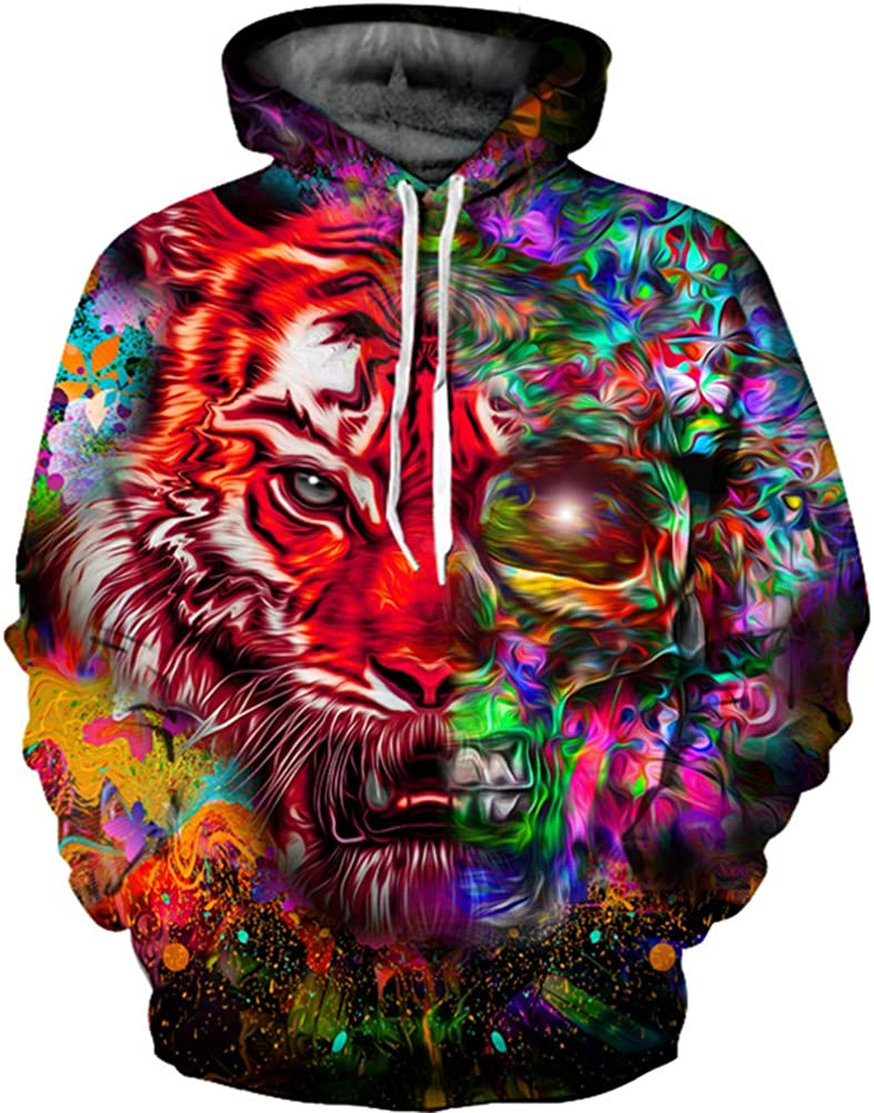 Sweatshirts Funny 3D Foxs Fashion Plus Size S-Printed Hoodie Tiger Pullovers Tracksuits