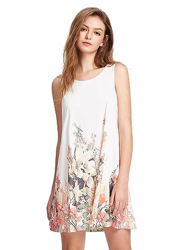ROMWE Women's Floral Print Sleeveless Loose Casual Swing T-shirt Dress